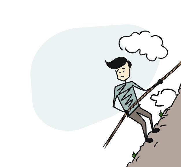 특수 케이블 로프로 혼자 높은 산을 오르는 산악인. 손으로 그린 스케치 벡터 일러스트 레이 션.