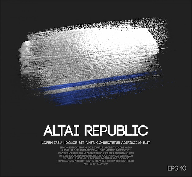 Altai republic flag made of glitter sparkle brush paint