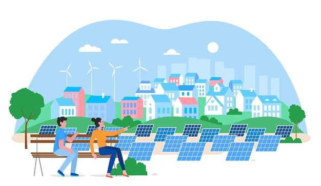 Alternative city green energy concept. cartoon urban cityscape with people enjoying view.
