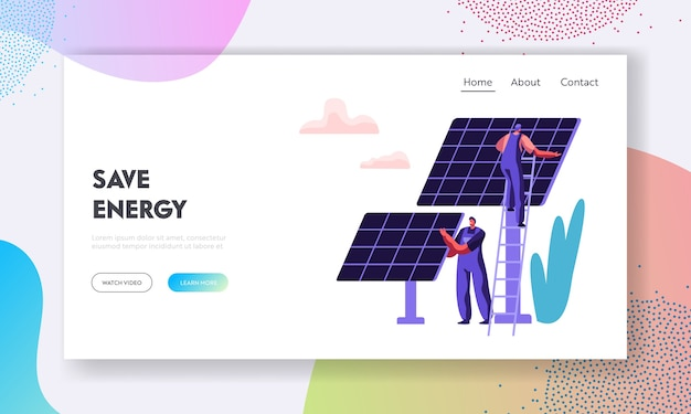 Alternative clean energy concept with solar panels and engineer character landing page template.