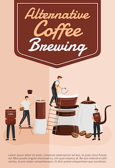 Alternative coffee brewing poster flat  template. filter and pour over utensils. brochure, booklet one page concept design with cartoon characters. coffeehouse flyer, leaflet
