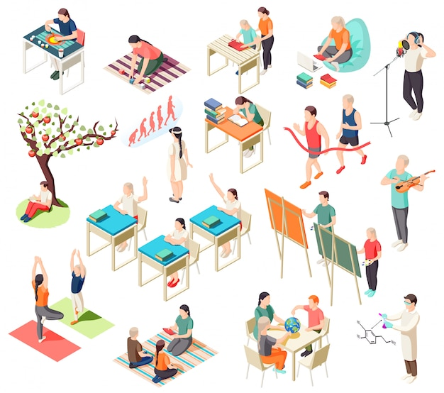 Alternative education isometric icons collection with isolated illustration of schooling situations with human characters of pupils