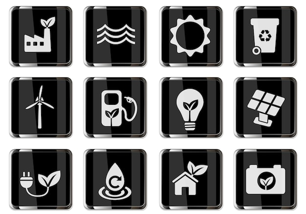 Alternative energetics pictograms in black chrome buttons. icons set for user interface design