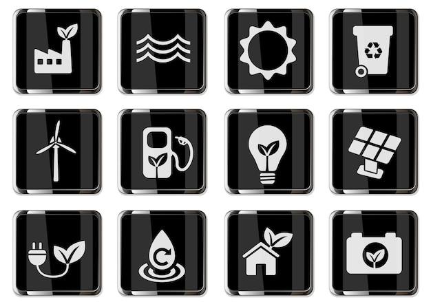 Пиктограммы альтернативной энергетики в черных хромированных кнопках. набор иконок для дизайна пользовательского интерфейса