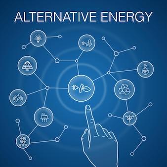 代替エネルギーの概念、青い背景。太陽光発電、風力発電、地熱エネルギー、リサイクルアイコン