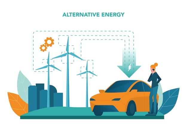 代替エネルギーの概念。エコロジーのアイデアは、電力と電気にこだわっています。環境を守ろう。ソーラーパネルと風車。孤立したフラットベクトル図