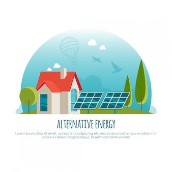 Альтернативная энергия, зеленые технологии, концепция баннера. иллюстрация для инфографики или веб-приложения