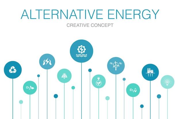 대체 에너지 인포 그래픽 10 단계 템플릿입니다. 태양광 발전, 풍력, 지열 에너지, 간단한 아이콘 재활용