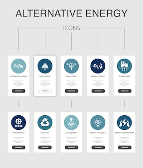 Alternative energy infographic 10 steps ui design.solar power, wind power, geothermal energy, recycling simple icons