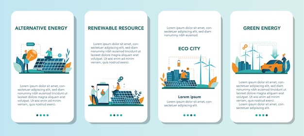Alternative energy mobile application banner set. idea of ecology frinedly power and electricity. save the environment. solar panel and windmill. isolated flat vector illustration