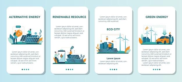 代替エネルギーモバイルアプリケーションバナーセット。エコロジーのアイデアは、電力と電気にこだわっています。環境を守ろう。ソーラーパネルと風車。孤立したフラットベクトル図