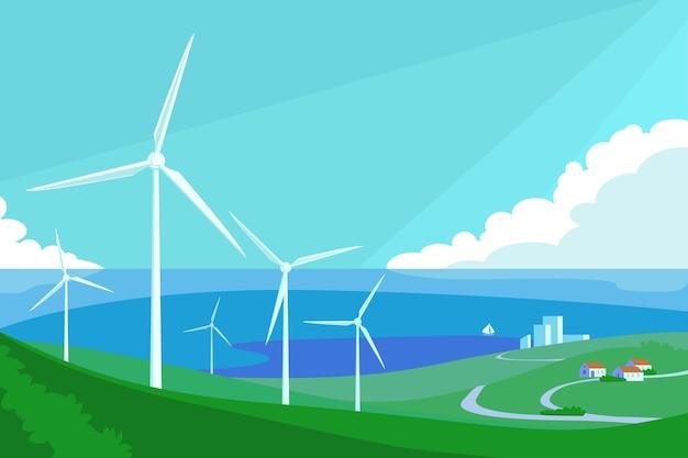 Альтернативный источник энергии с ветряными мельницами векторные иллюстрации зеленые поля с генераторами