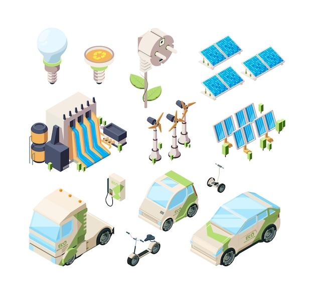 Набор альтернативной энергии. солнечные панели зеленые зарядные устройства промышленные экологические системы ветряная мельница современный изометрический векторный набор. солнечная энергия, иллюстрация отрасли энергосбережения
