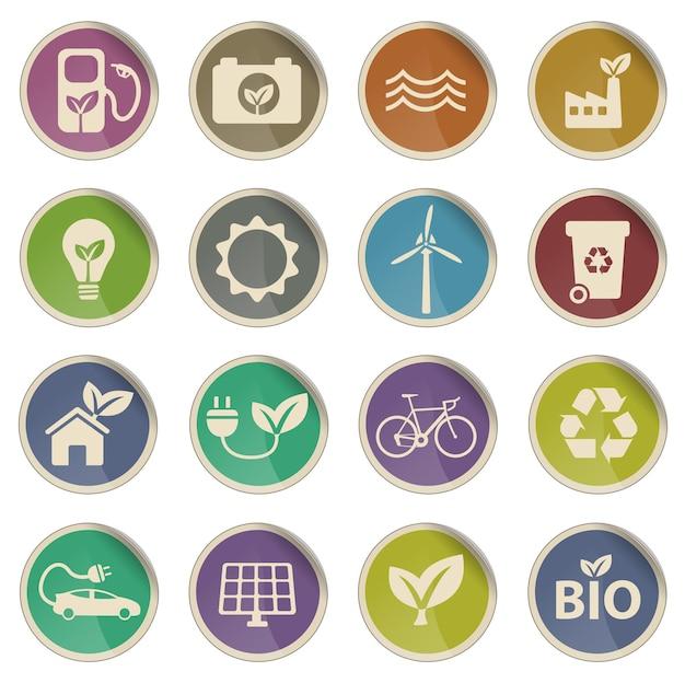 Alternative energy simple vector icons
