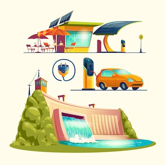 Alternative energy sources, cartoon set
