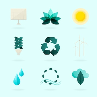 Alternative energy symbols set vector