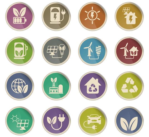 Альтернативные источники энергии векторные иконки в виде круглых бумажных этикеток