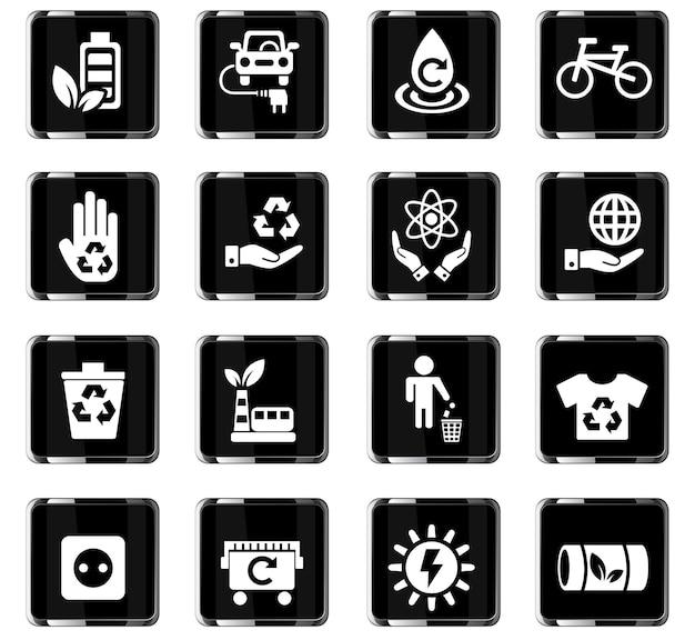 Веб-иконки альтернативной энергии для дизайна пользовательского интерфейса