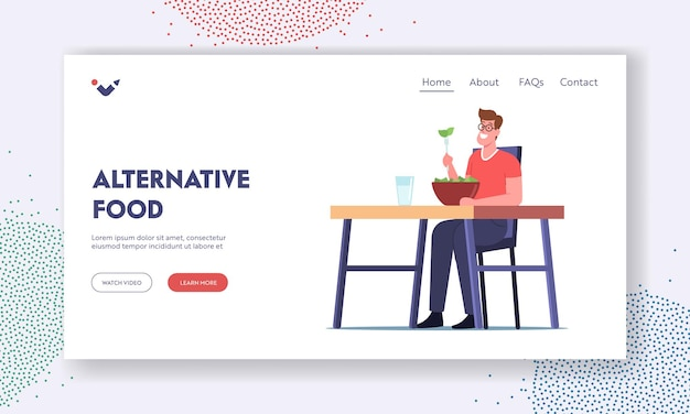 Alternative food landing page template. healthy nutrition, vegetarian restaurant with natural food. male character sit at table in vegan bar eat salad and drink water. cartoon vector illustration