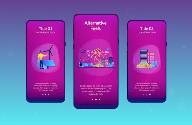 Alternative fuel app interface template.