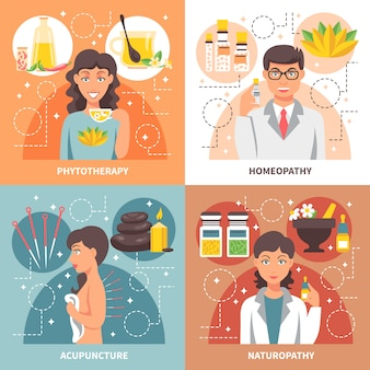 Alternative medicine elements and characters design concept