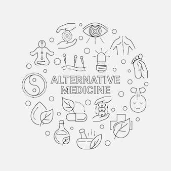 Alternative medicine icon set round illustration