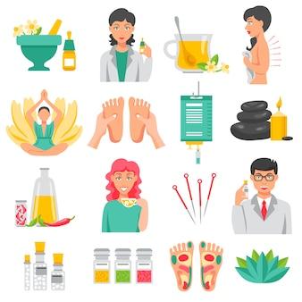 Набор иконок альтернативной медицины