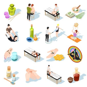 Alternative medicine isometric icons