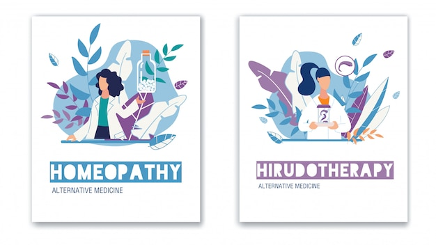 Alternative medicine vertical poster flat set
