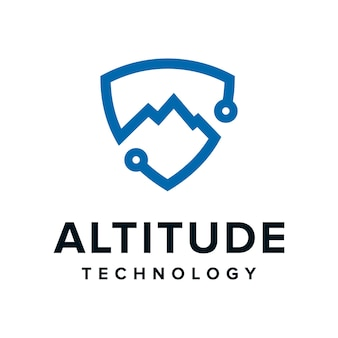 高度は、技術のシンプルでモダンなアウトラインのロゴデザインのためのシールドのscurityで山を上昇させます