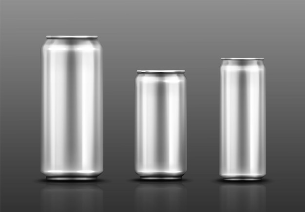 Aluminium can for soda or beer on gray