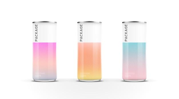 ビール水ジュースエネルギードリンクまたはソーダパックのモックアップテンプレートデザインベクトルのアルミ缶