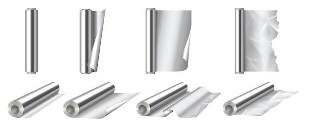 Набор рулонов алюминиевой фольги. 3d детализированный блестящий серебряный тонкий рулон алюминиевой фольги для упаковки или украшения открытого и закрытого вида. реалистичные векторные иллюстрации