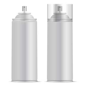 Aluminium spray can with lid vector mockup
