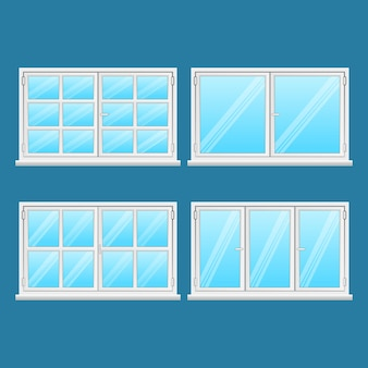 Aluminium windows set isolated on blue background. high quality windows from stainless steel. modern frame types. window exterior use. house and office windows. window .  illustration