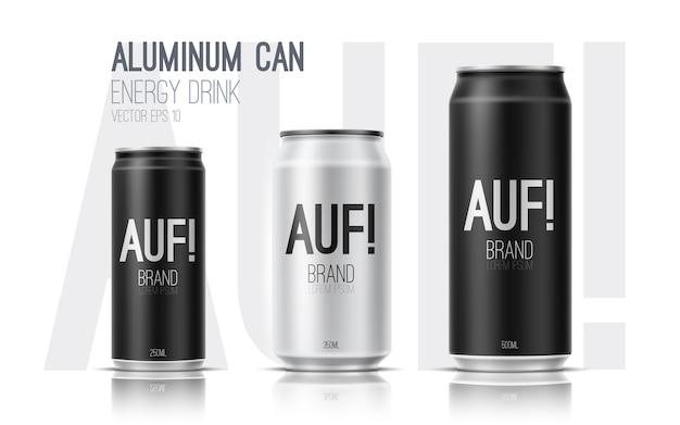 에너지 음료의 알루미늄 캔. 패키지 디자인 현실적인 그림