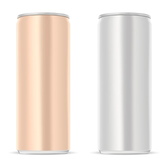 Aluminum can. slim juice drink tin isolated