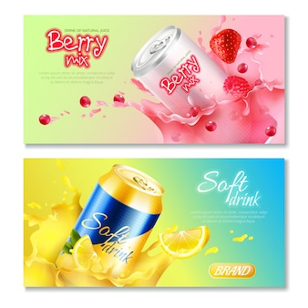 Aluminum cans drinks horizontal banner set Free Vector