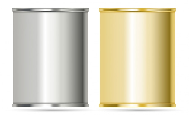 Aluminum cans in silver and gold colors