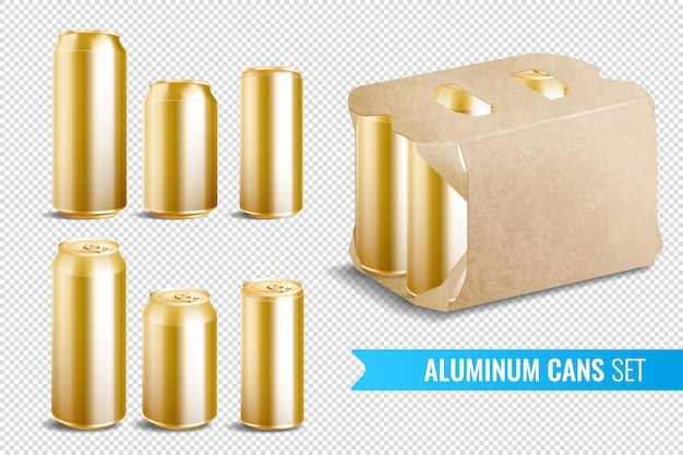 Aluminum cans transparent icon set