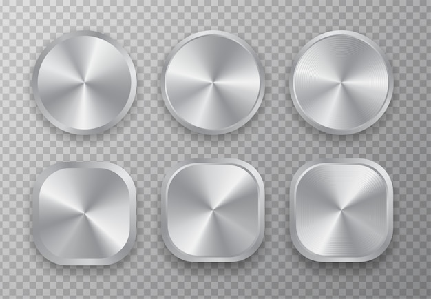Aluminum metal button set.