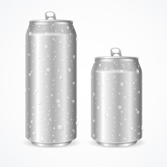 Aluminum realistic wet can blank with drops. vector illustration