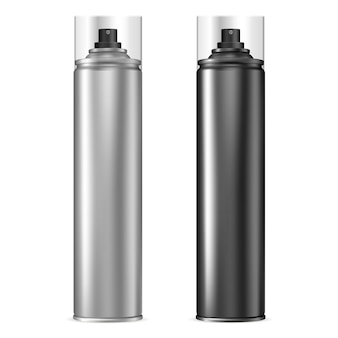 Aluminum spray can. aerosol bottle set in black.