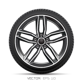 Aluminum wheel car tire style sport on white background.