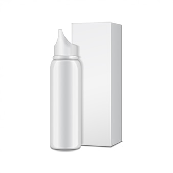 Aluminum white bottle with sprayer for nasal spray with cardboard box.