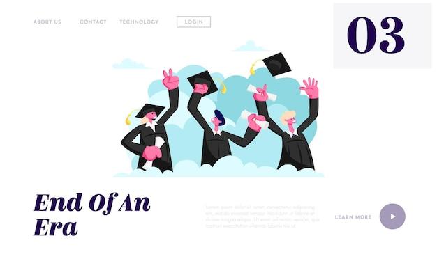 졸업생 졸업 대학 또는 대학. 학업 모자와 가운을 입은 쾌활한 사람들이 졸업장을 손에 들고 졸업장 웹 사이트 방문 페이지