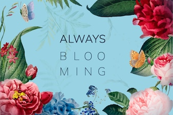 Always blooming floral frame illustration