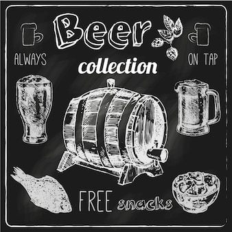 Always free salted snacks tap beer bar chalk blackboard advertisement elements collection sketch vector isolated illustration