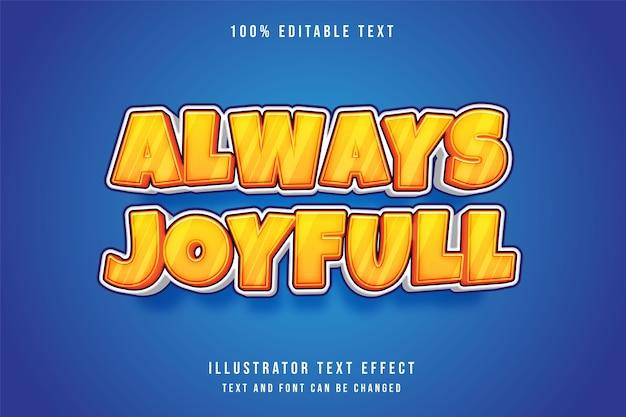 Всегда радостный трехмерный редактируемый текстовый эффект. комический стиль