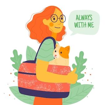 いつも私と一緒に彼女の猫を持つ女性のイラスト